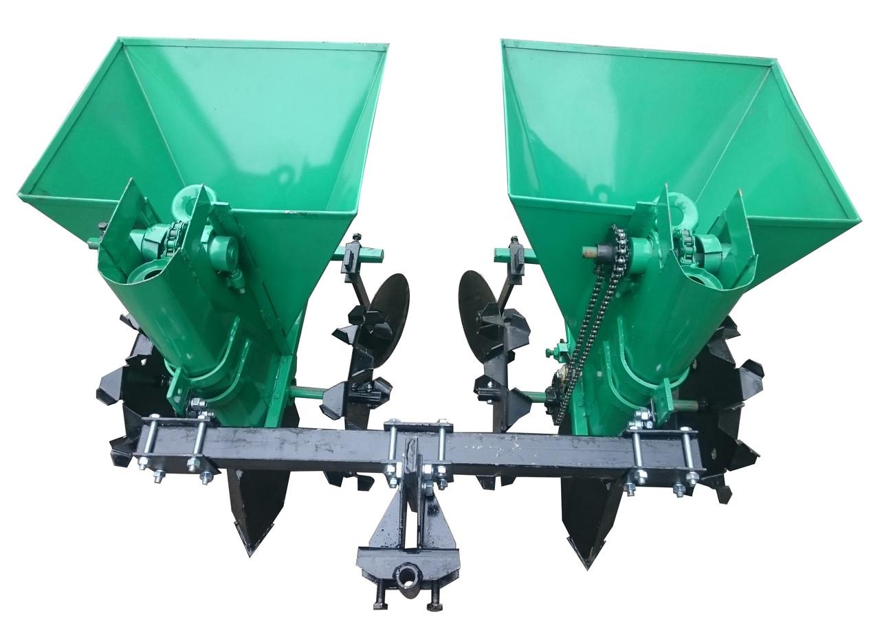 Картофелесажалка двухрядная для мототрактора 68 л NEW (новые грунтозацепы)