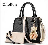 Женская сумка через плечо с кошельком Zhe Ren, черная Черный