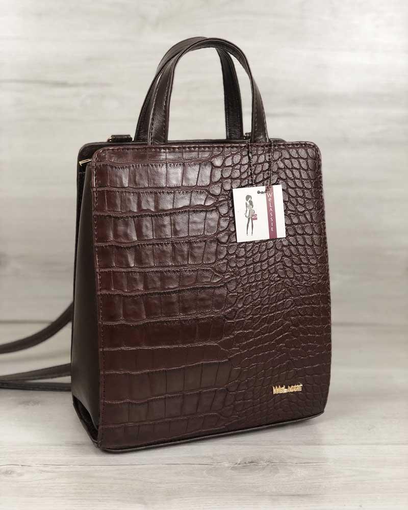 2fa7d551175e Молодежный каркасный сумка-рюкзак коричневого цвета со вставкой коричневый  крокодил - Интернет-магазин
