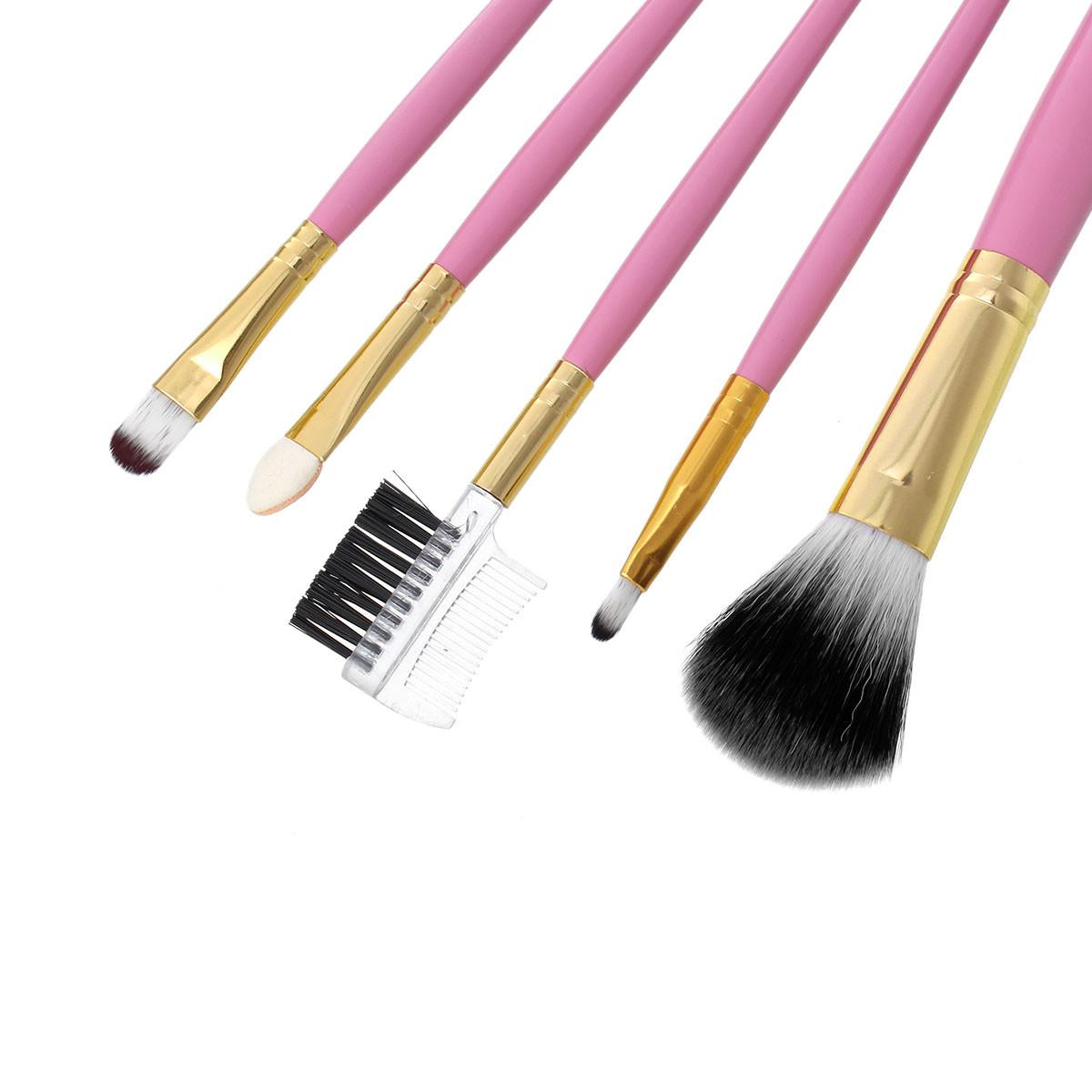 Кисти для макияжа розовые Качество 5 шт