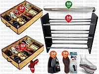 6пр. Набор с деревянной (ДСП) 3-х ярусной полкой для обуви,подставка(ложка,органайзеры shoes under и д.р).
