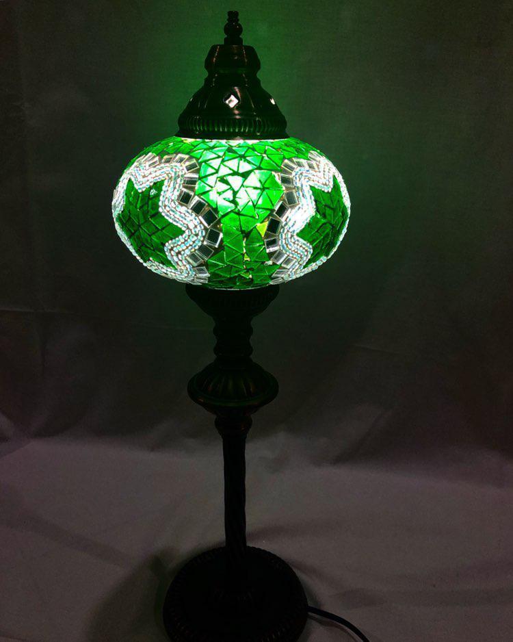 Настольный высокий турецкий светильник Sinan из мозаики ручной работы зеленый