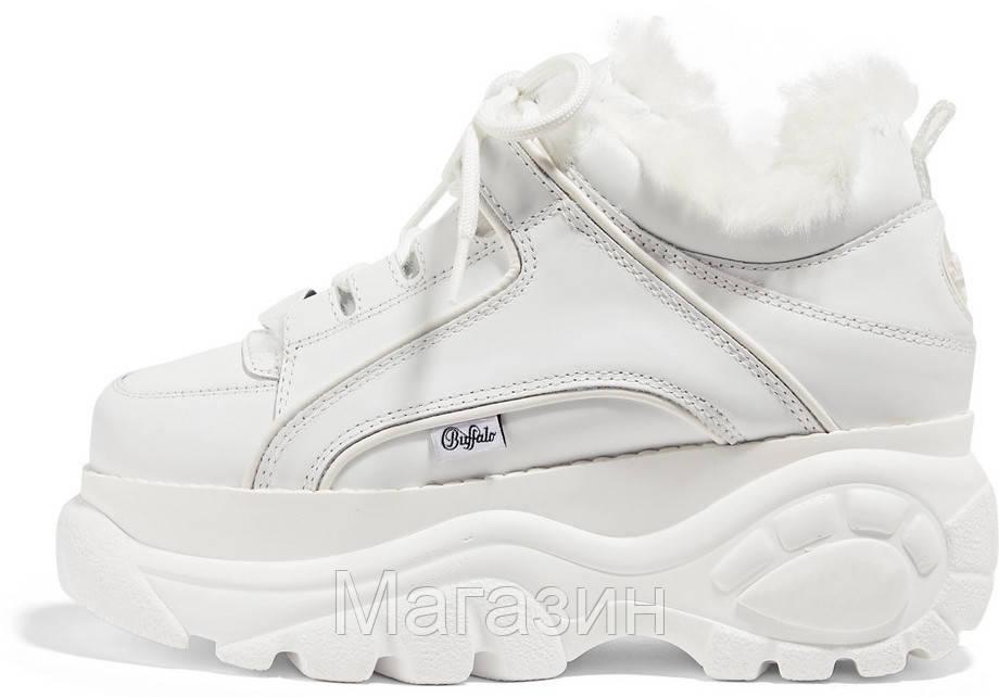 Зимние женские кроссовки Buffalo London Winter Fur Leather Platform Sneakers White Буффало белые С МЕХОМ