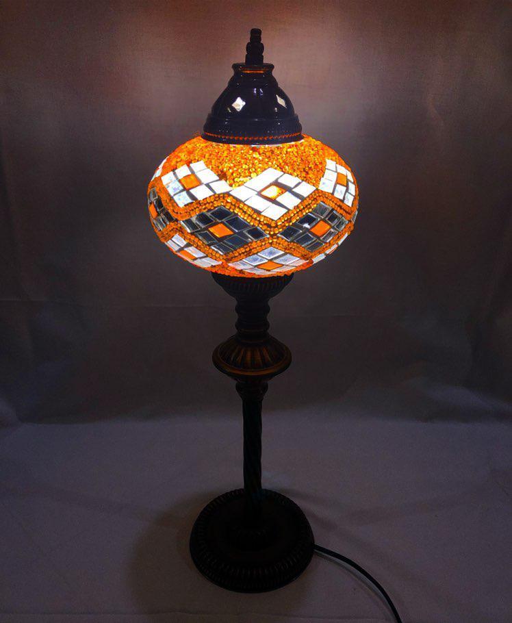 Настольный высокий турецкий светильник Sinan из мозаики ручной работы оранжевый