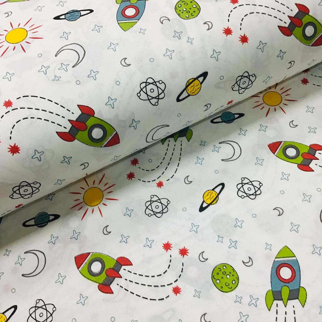 Ткань поплин ракеты зеленые с солнышком на белом (ТУРЦИЯ шир. 2,4 м) №32-172