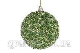 Елочный шар 8см, зеленый с покрытием лёд (16шт)