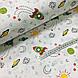 Ткань поплин ракеты зеленые с солнышком на белом (ТУРЦИЯ шир. 2,4 м) №32-172, фото 4