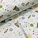Ткань поплин ракеты зеленые с солнышком на белом (ТУРЦИЯ шир. 2,4 м) №32-172, фото 2