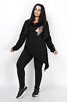 Женский брючный костюм с асимметричной кофтой украшенной цветком, фото 1