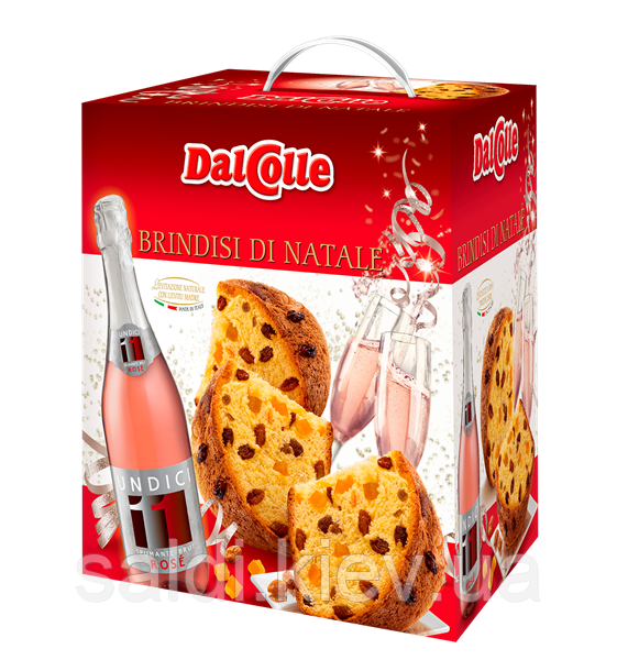 Панетон Brindisi di Natale, из бутылкой игристого вина брют