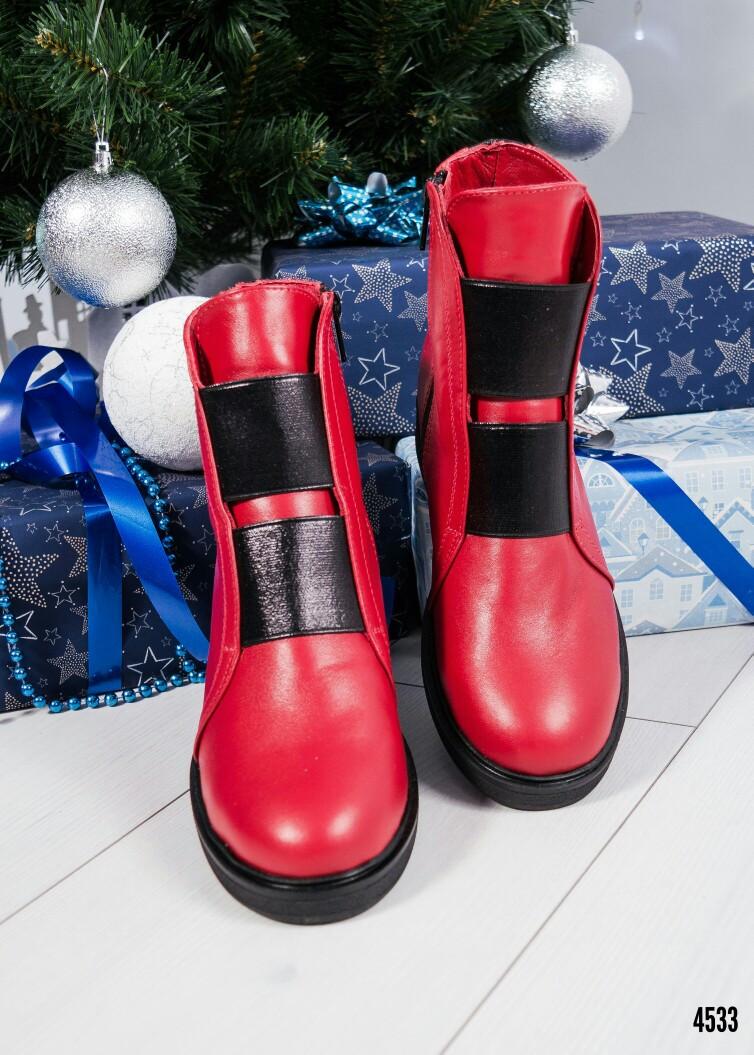 Ботинки женские кожаные красные зима