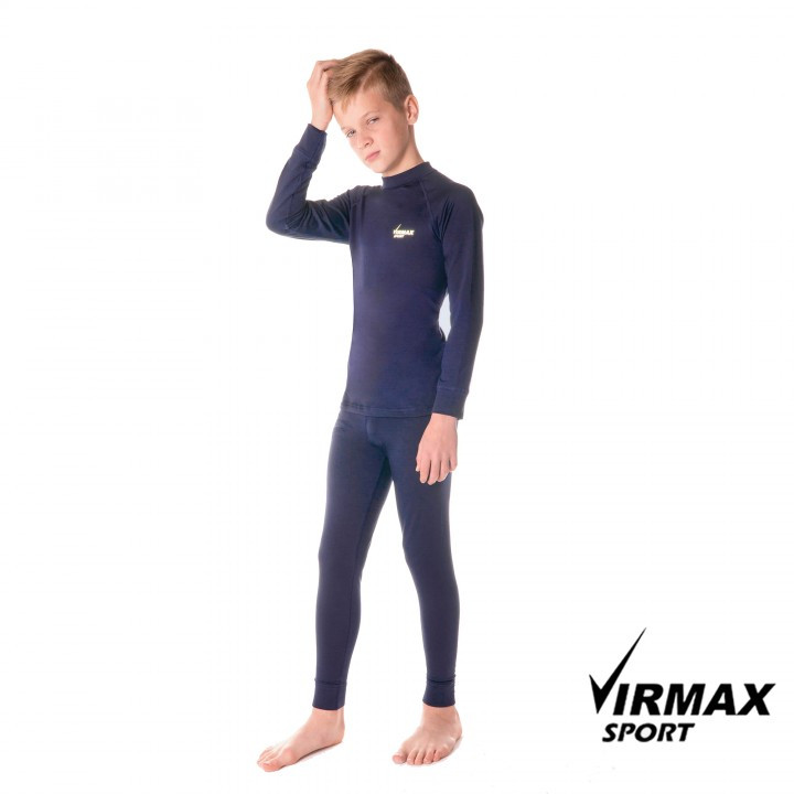 Термобелье детское спортивное Virmax Sport синее, детский комплект термобелья унисекс (шапка в подарок!)