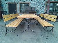 Cадовый набор кованой мебели : стол + 3 лавки