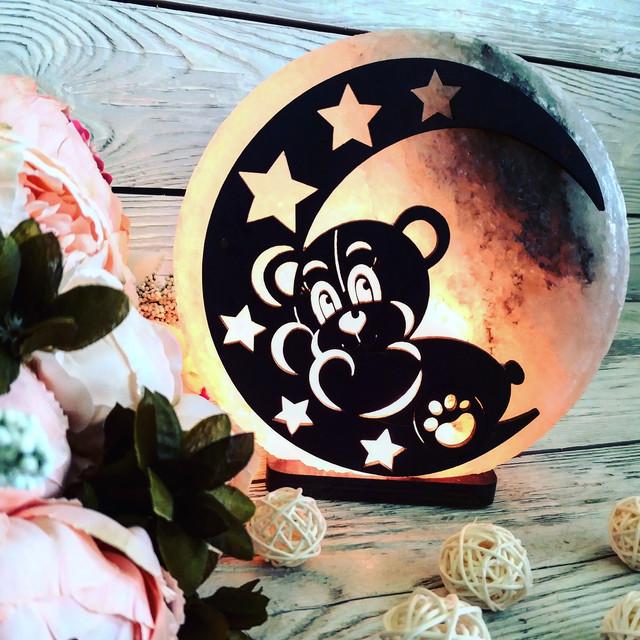 Соляная лампа «Мишка на Луне» 3-4 кг.