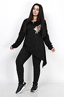 Асимметричный женский костюм с кофтой украшенной цветком plus size