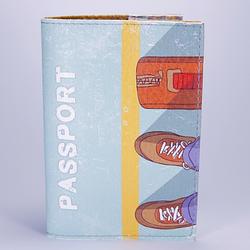 """Обложка на паспорт бирюзовая, """"Ботинки"""", экокожа"""
