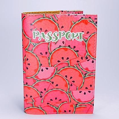 """Обложка на паспорт, """"Арбузы"""", экокожа"""