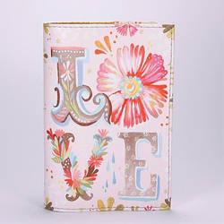 "Обложка на паспорт, розовая, ""LOVE"", экокожа"