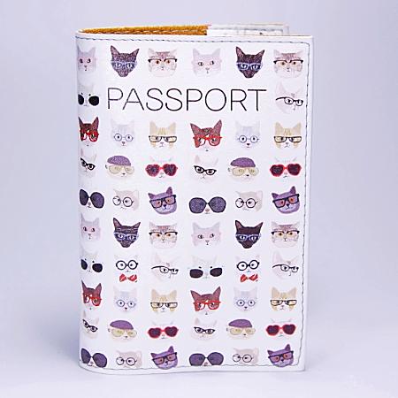 """Обложка на паспорт, белая, """"Коты"""", экокожа"""