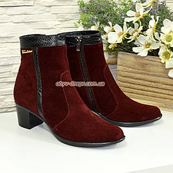 Ботинки женские демисезонные на невысоком каблуке, цвет бордо