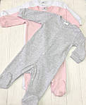 Разноцветный Детский комплект комбинезончиков  из трех единиц Разноцветные розовый+меланж+белый, фото 4