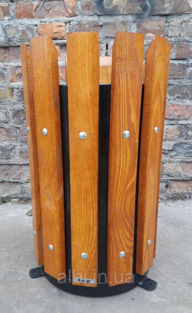 Урна металлическая с деревянным обрамлением
