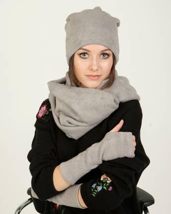 Подарочный набор шапка-чулок, шарф-снуд и нарукавники, фото 2
