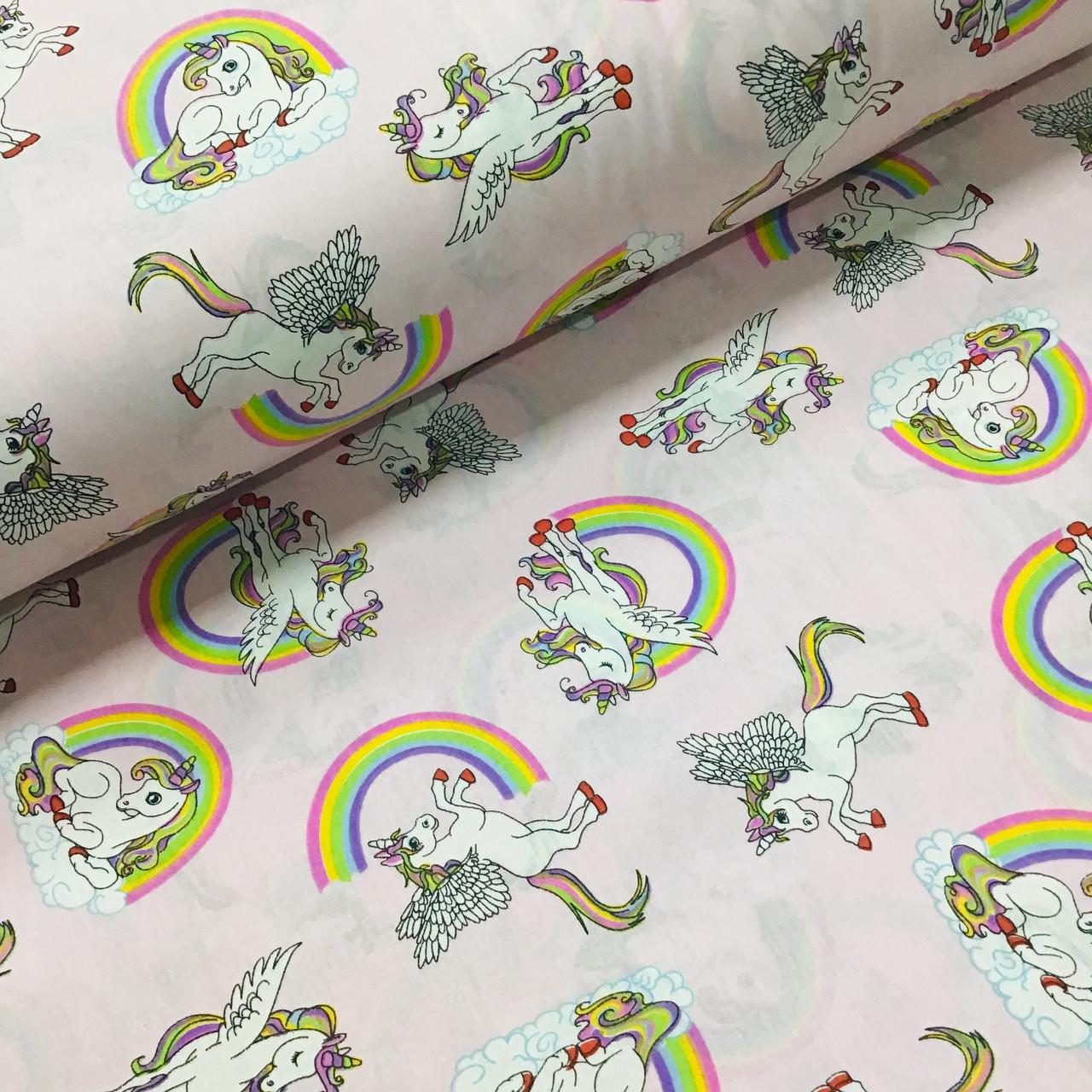 Ткань поплин единороги с радугой на розовом (ТУРЦИЯ шир. 2,4 м) №32-174