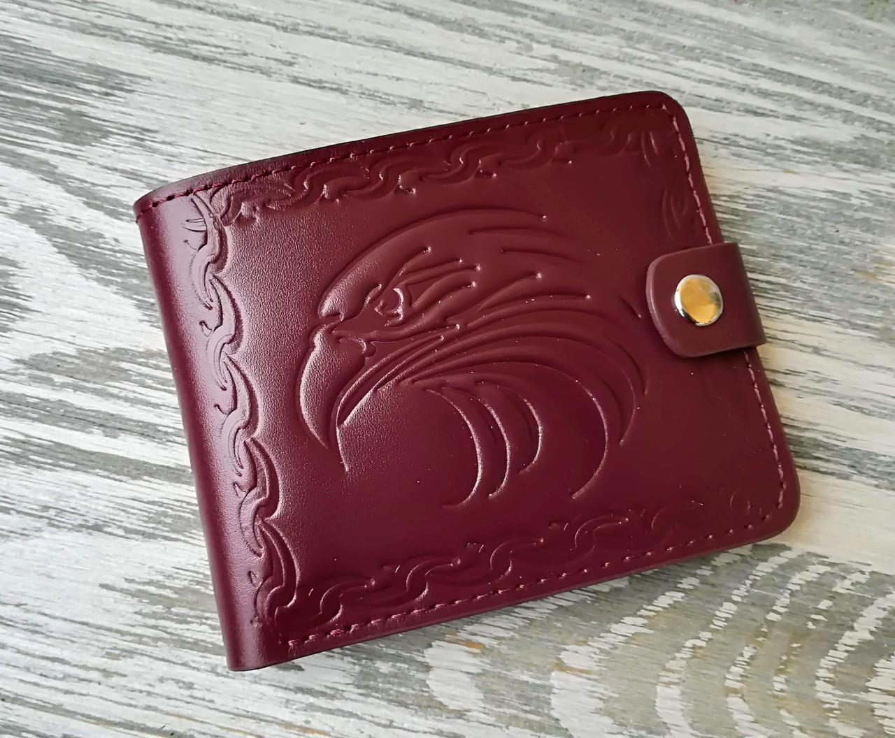 Портмоне кожаное орел цвета спелой вишни