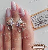 Серебряные серьги с золотыми вставками 248у