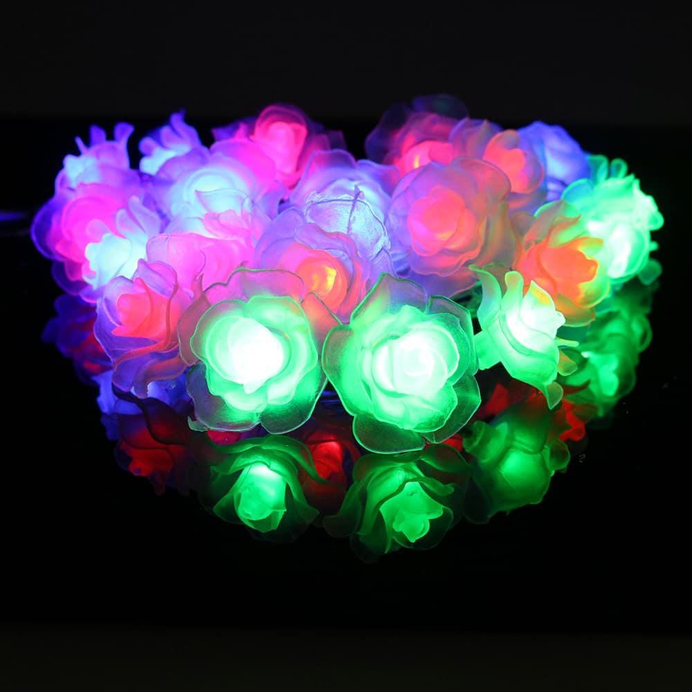 Новогодняя разноцветная LED-гирлянда Цветы
