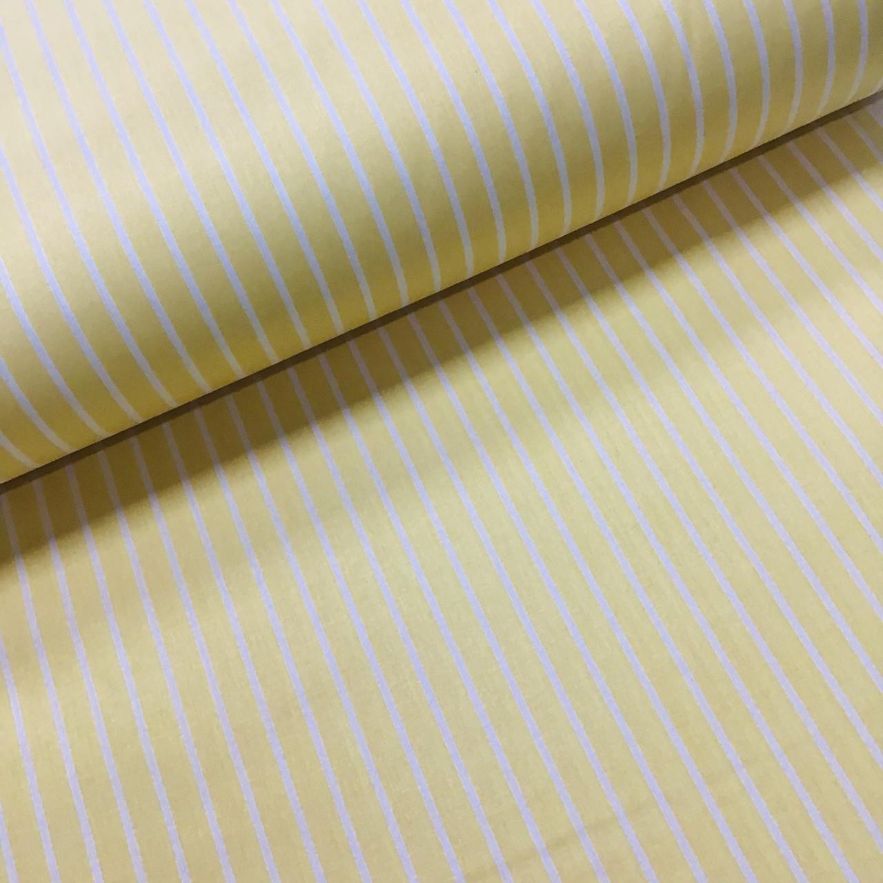 Ткань поплин белая полоска на желтом (ТУРЦИЯ шир. 2,4 м) №32-177