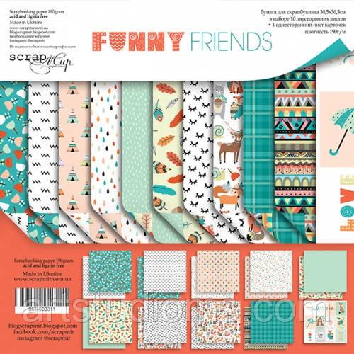 Набор двусторонней бумаги 30х30см от Scrapmir Funny Friends