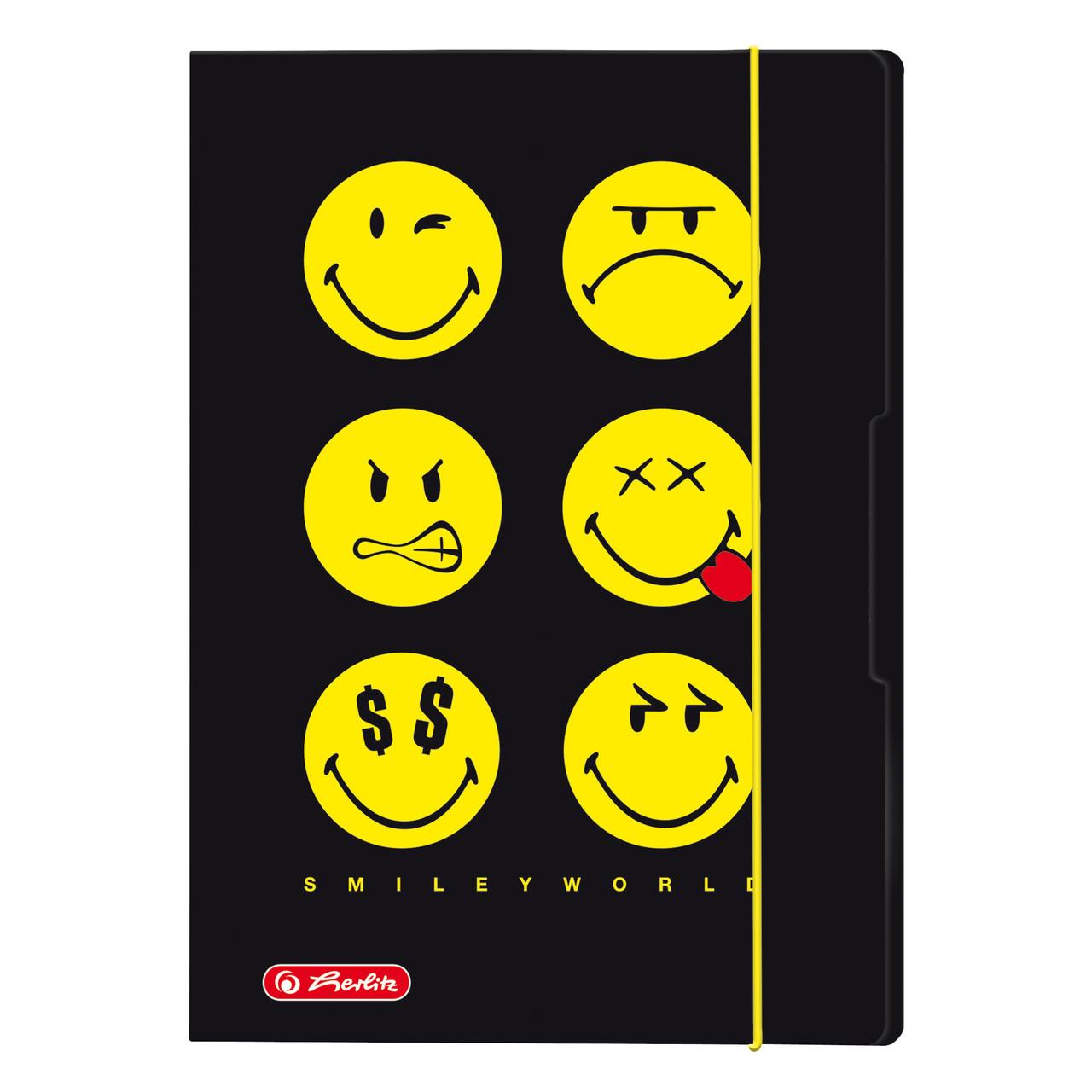 Папка картонная на резинке Herlitz А3 Smiley World Black (50008902)