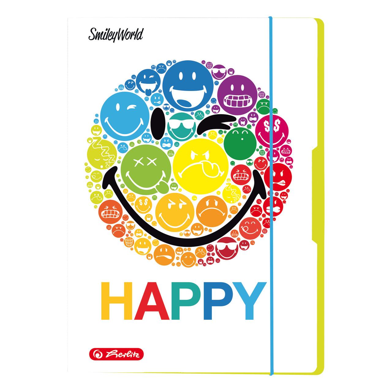 Папка картонная на резинке Herlitz А4 Smiley World Rainbow (50001675)