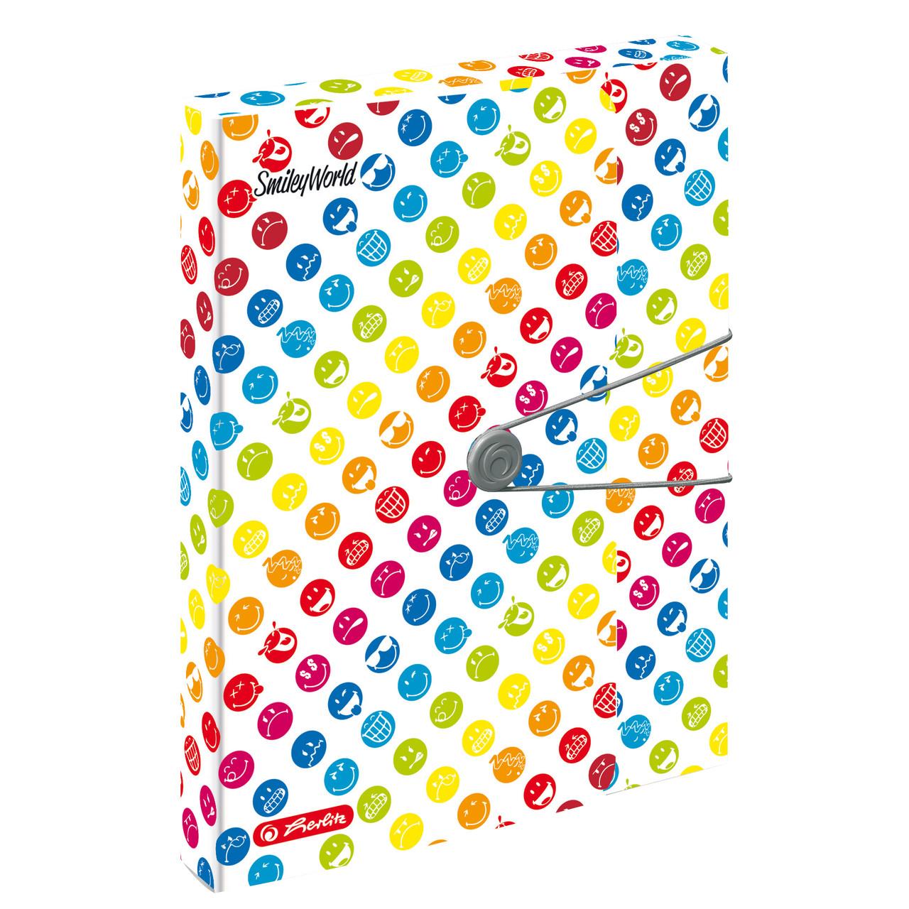 Папка-бокс на резинке Herlitz А4 4см Smiley World Rainbow  (50002078)