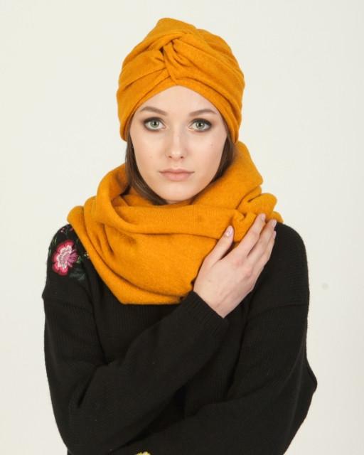 Подарочный набор шапка-чулок, шарф-снуд и нарукавники горчица