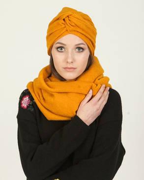 Подарочный набор шапка-чулок, шарф-снуд и нарукавники горчица, фото 2