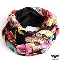 Двусторонний шарф-снуд с цветочным принтом, фото 1
