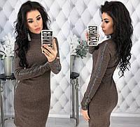 Женское облегающее ангоровоеплатье со вставкой из люрекса на лампасах42-44, 46-48