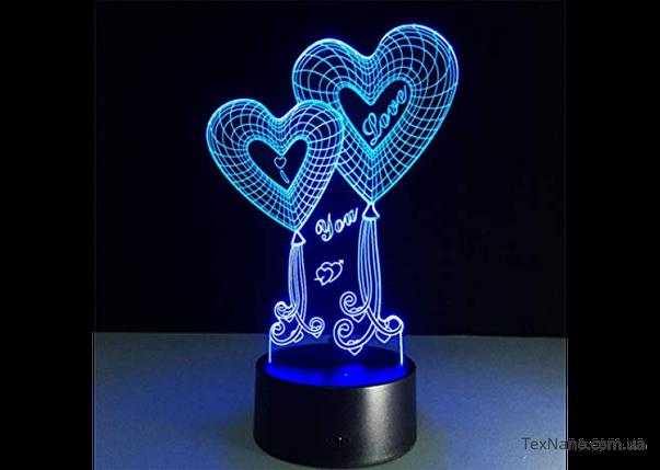 """Лампа """"I love you"""" 3D LED світильник 1111, прекрасний подарунок другій половинці, фото 2"""