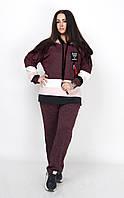 Удобный женский костюм с ангоры и трикотажными вставками, большой размер, фото 1