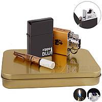 Зажигалка подарочная USB хорошая +  бензиновая 33157BkZL, фото 1