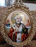 Элитная писаная икона Святого Николая Чудотворца (Николай Чудотворец), фото 5