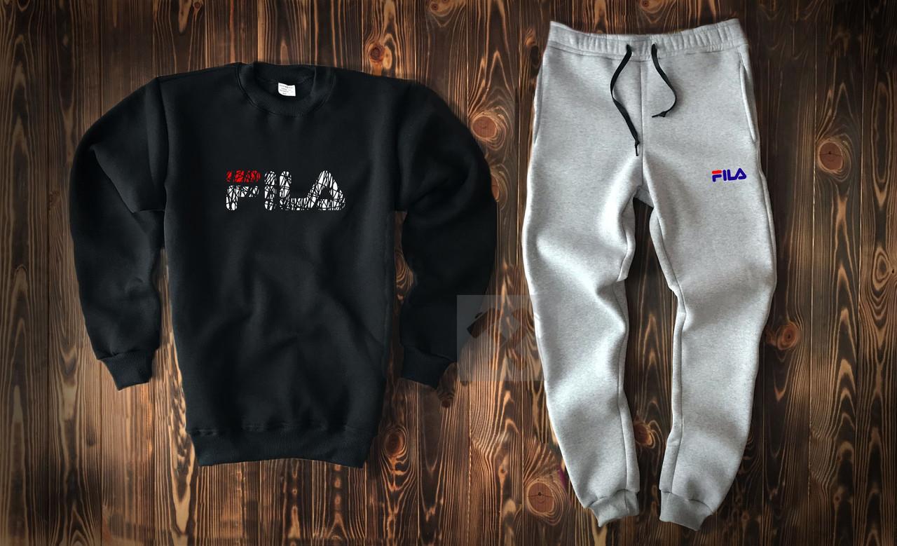 34d53ff3d273 Купить теплый мужской спортивный костюм Fila черно серого цвета   Im ...
