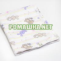 Белая детская ситцевая (ситец) пеленка 110х90 см с русунками для пеленания тонкая 3115-28 Сиреневый