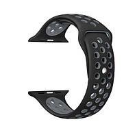 Браслет для Apple Watch ремешок серый Nike спортивный силиконовый перфорированный 42 mm черный с серым