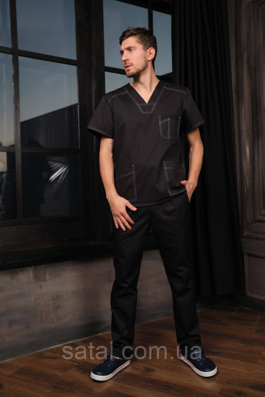 """Медицинский костюм """"Брюс"""". Черный. Рукав короткий. Саталь"""