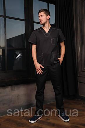 """Медицинский костюм """"Брюс"""". Черный. Рукав короткий. Саталь, фото 2"""