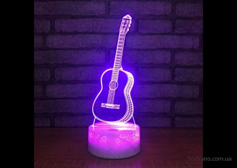 """Необычный светильник для любителей музыки """"Гитара"""" 1101 с 3D эффектом"""